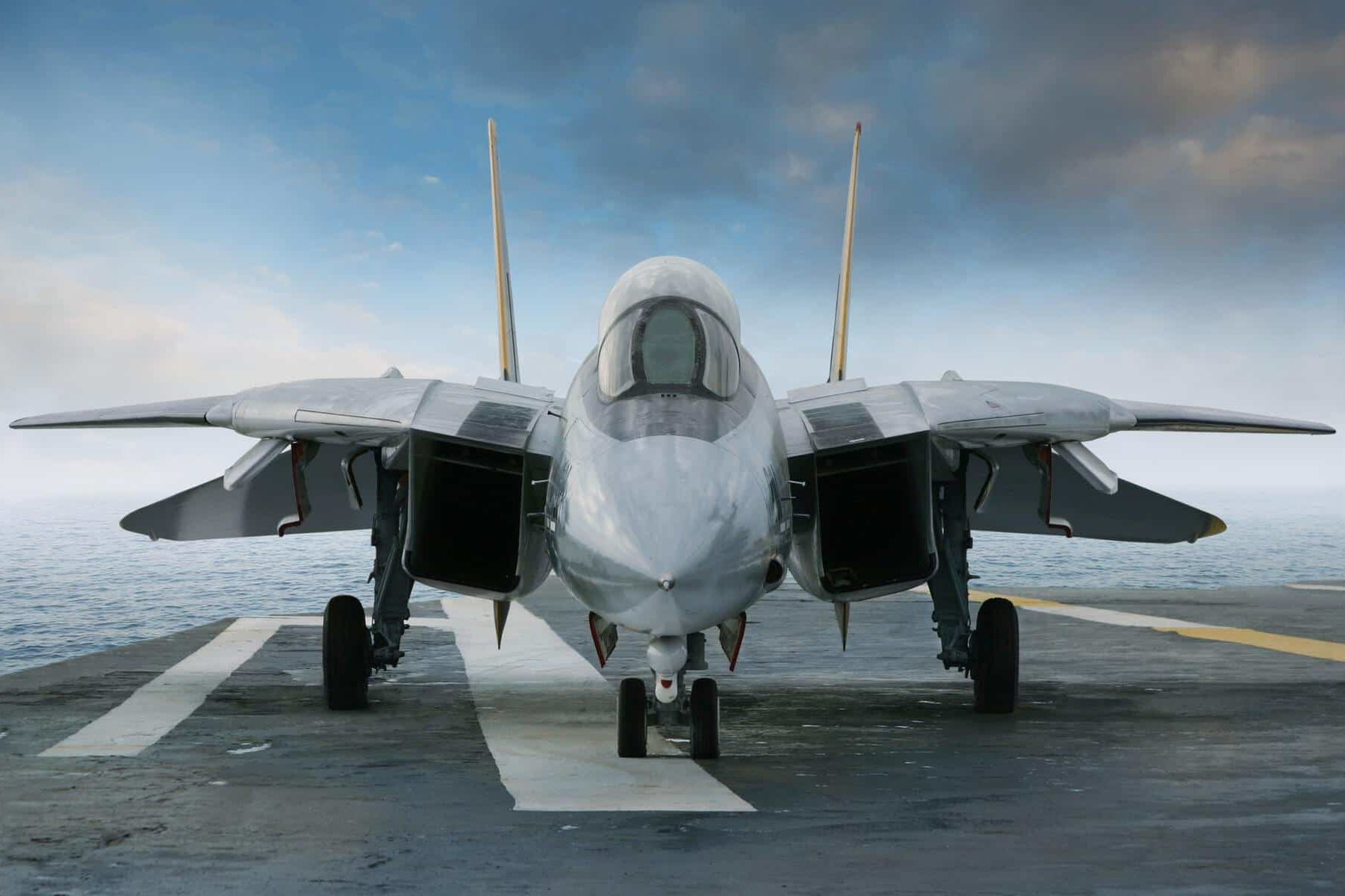 F-14 Tomcat Fighter on the Deck of a Carrier
